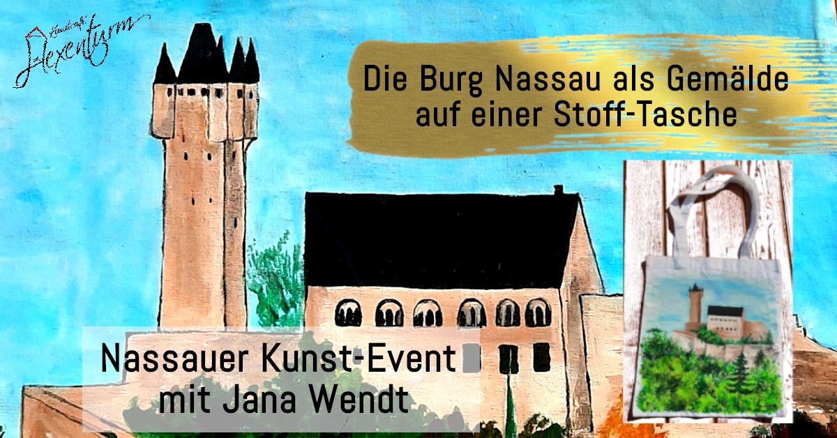 Burg NAssau auf einer Stofftasche