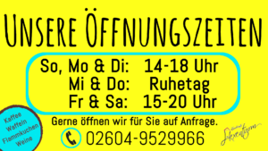 Öffnungszeiten 2021 Kunstcafé am Hexenturm
